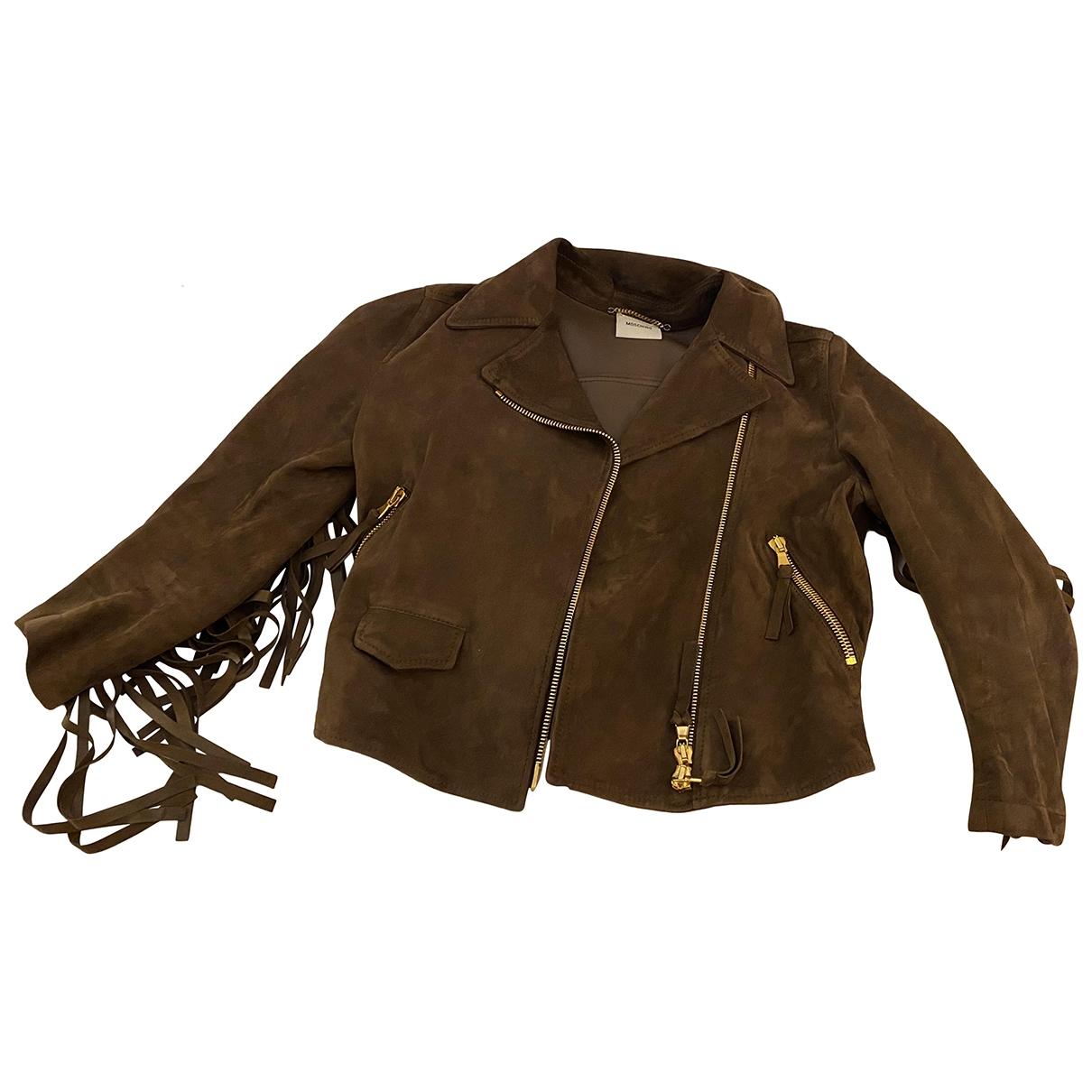 Moschino - Veste   pour femme en suede - marron