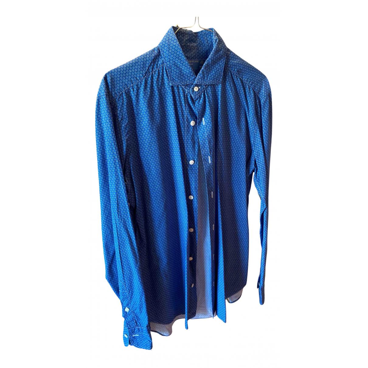 Barba - Chemises   pour homme en coton - bleu