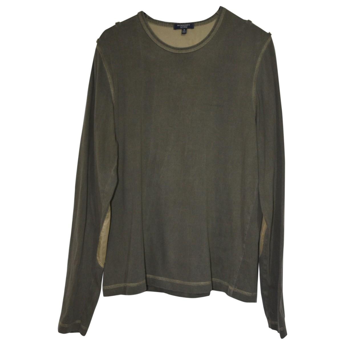 Burberry \N Pullover.Westen.Sweatshirts  in  Khaki Baumwolle