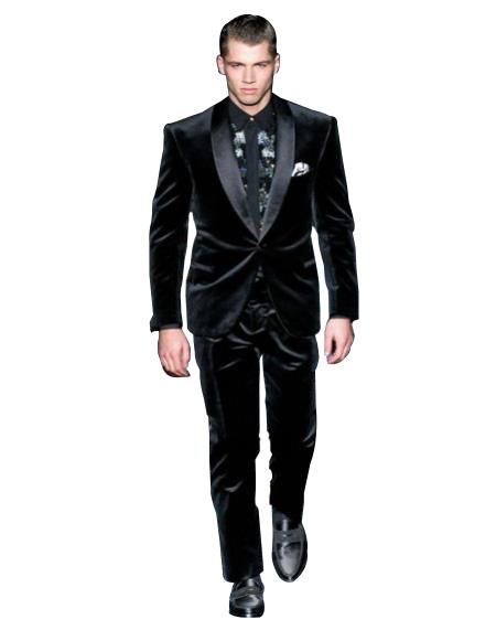 Mens High Fashion Black Single Breasted Shawl Lapel Velvet suit