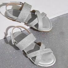 Kleinkind Maedchen Metallic Glitter Cross Strap Sandalen