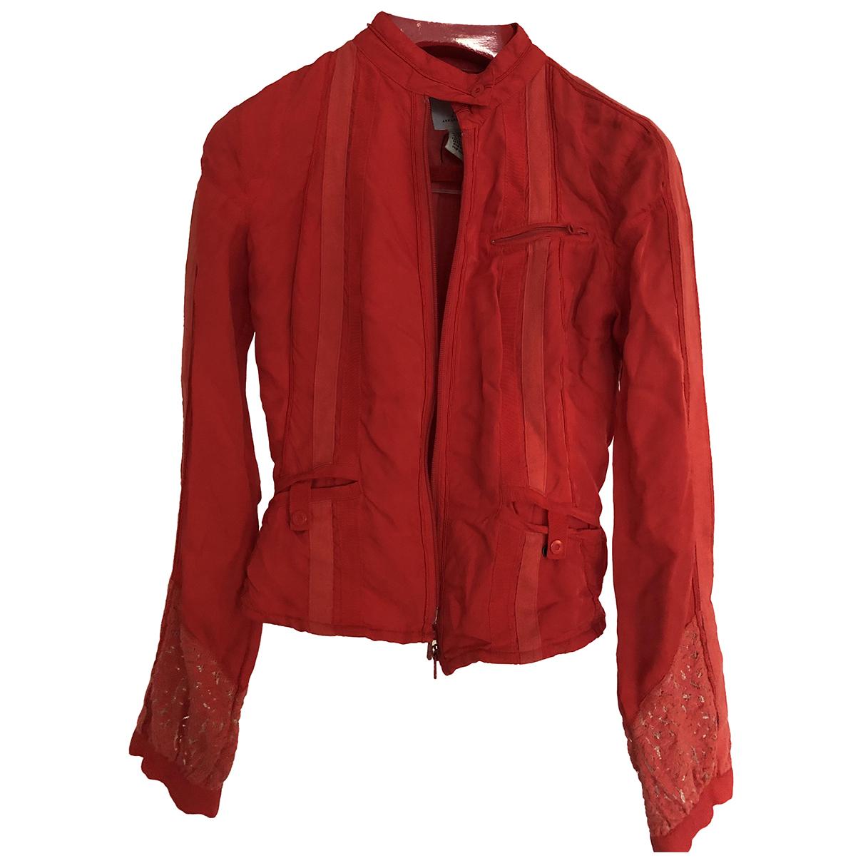 Emporio Armani \N Jacke in  Rot Baumwolle
