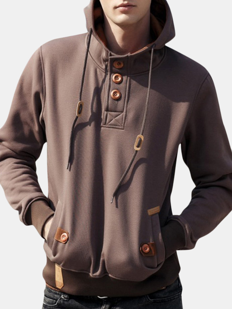 Mens Casual Vintage Button Drawstring 100%Cotton Solid Color Hoodies