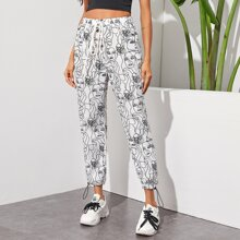 Drawstring Hem Figure Graphic Pants