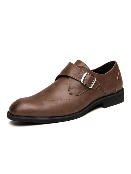 Milanoo Man\'s Dress Shoes Fashion Round Toe Buckle PU Leather Buckle Shoes