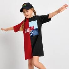 Girls Drop Shoulder Letter Graphic Spliced Tee Dress
