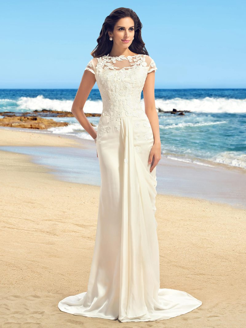 Ericdress Applique Cap Sleeves Sheath Beach Wedding Dress