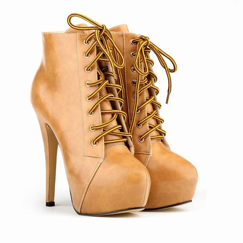 Ericdress Plain Round Toe Stiletto Heel PU Boots