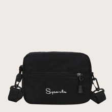 Letter Embroidered Zip Front Crossbody Bag