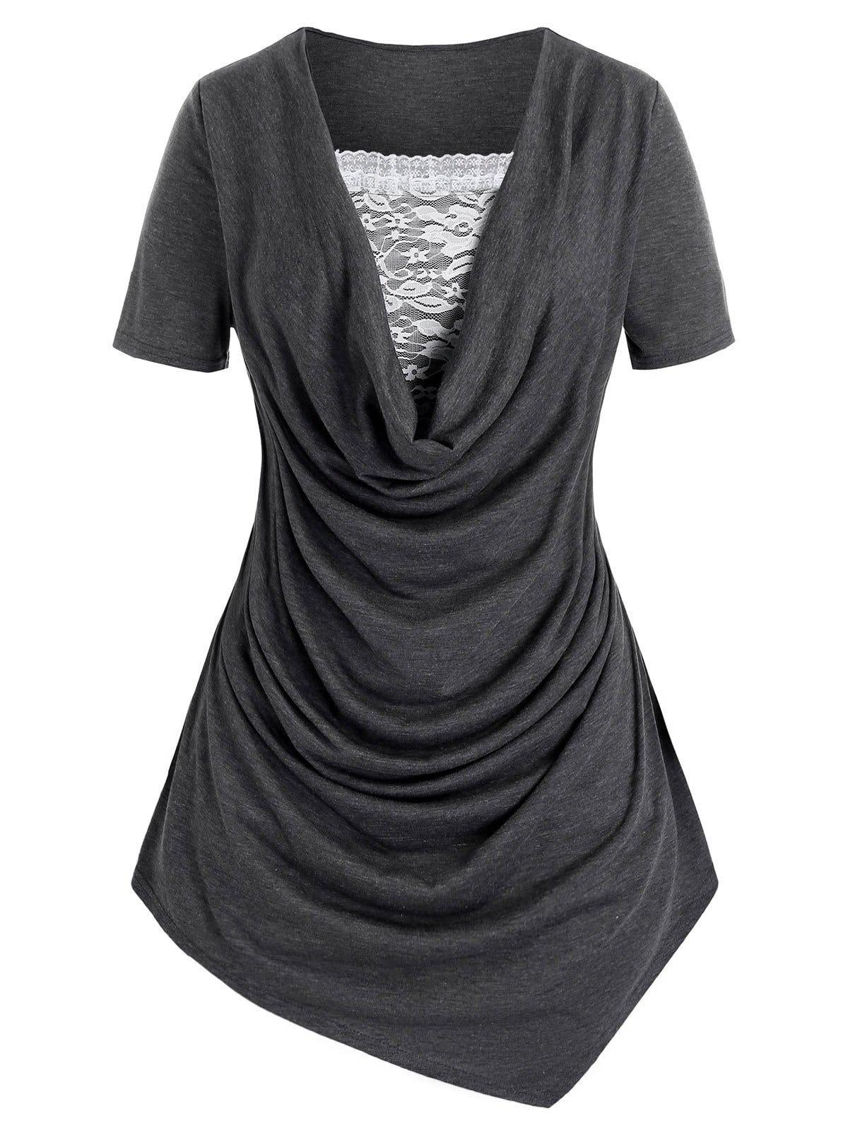 Plus Size Cowl Neck Lace Insert Asymmetric T Shirt