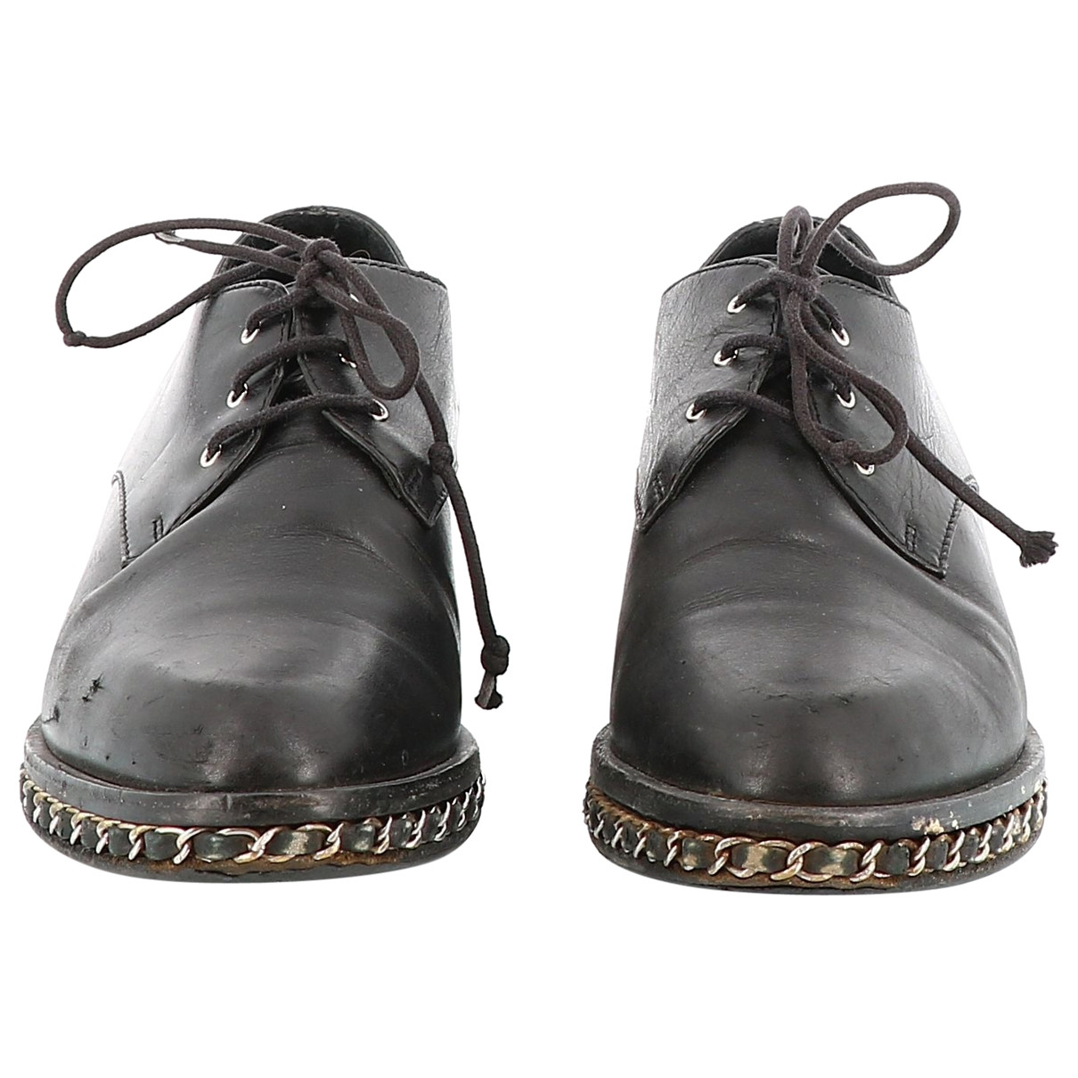 Chanel \N Black Leather Lace ups for Women 37.5 EU