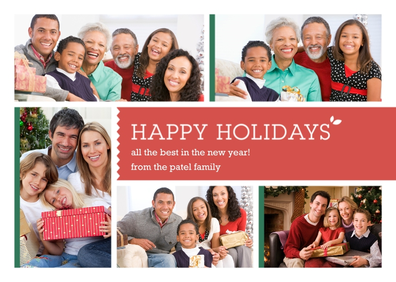 Holiday Photo Cards 5x7 Folded Cards, Standard Cardstock 85lb, Card & Stationery -Multi-Photo Happy Holidays