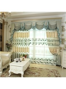 Fresh Style Light Green Embroidered Floral 2 Panels Blackout Curtains For Living Room