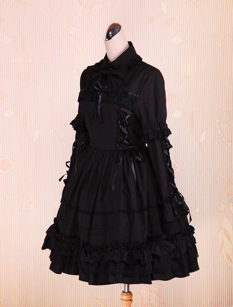 Milanoo Pure Black Cotton Lolita One-piece Dress Long Sleeves Ruffles Trim