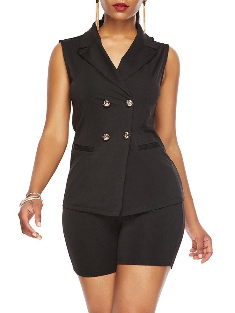 Ericdress Button Vest Fashion Notched Lapel Two Piece Sets