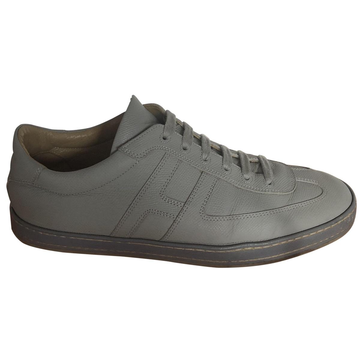 Hermès \N Grey Leather Trainers for Men 42 EU