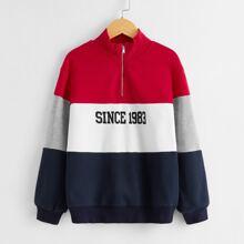 Pullover mit Buchstaben Grafik und Reissverschluss