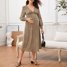 Maternity V-neck Puff Sleeve Dalmatian Print Dress