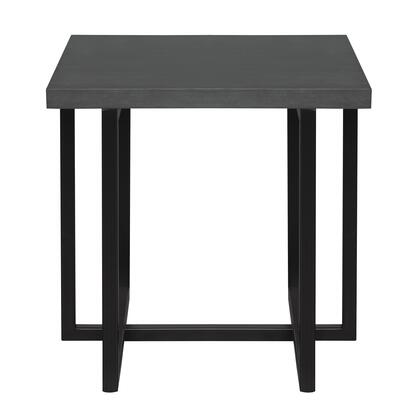 Logan Collection LCLGLAGR Contemporary End Table with Black Iron Finish and Grey Wood