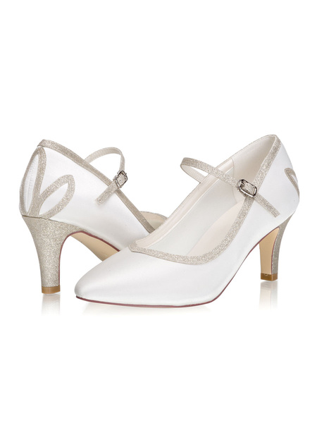Milanoo Wedding Shoes Mary Jane Pumps Satin Pointed Toe Kitten Heel 2.8 Bridal Shoes