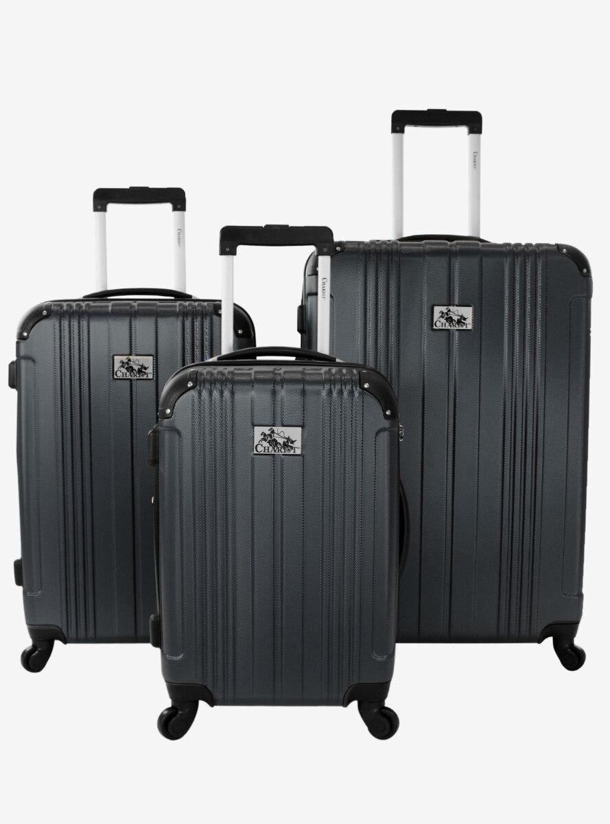 Monet Hard Sided 3 Pc Black Luggage Set