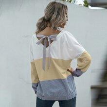 Sweatshirt mit Farbblock, Band hinten und sehr tief angesetzter Schulterpartie