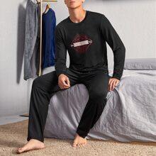 Conjunto de pijama con estampado de animal y letra