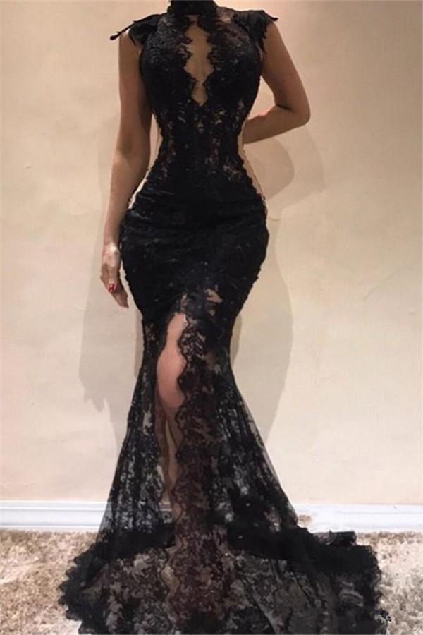 Vestidos de baile sexy con cuello alto y encaje negro 2021 | Vestidos de noche partidos sin mangas de Split