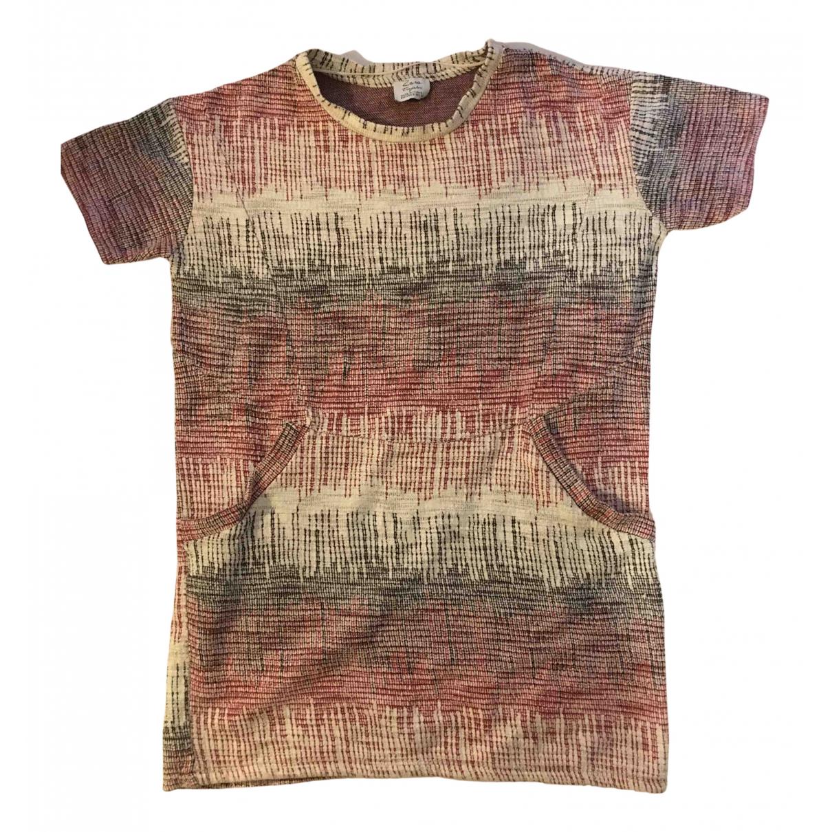 Zara \N Kleid in  Bordeauxrot Baumwolle