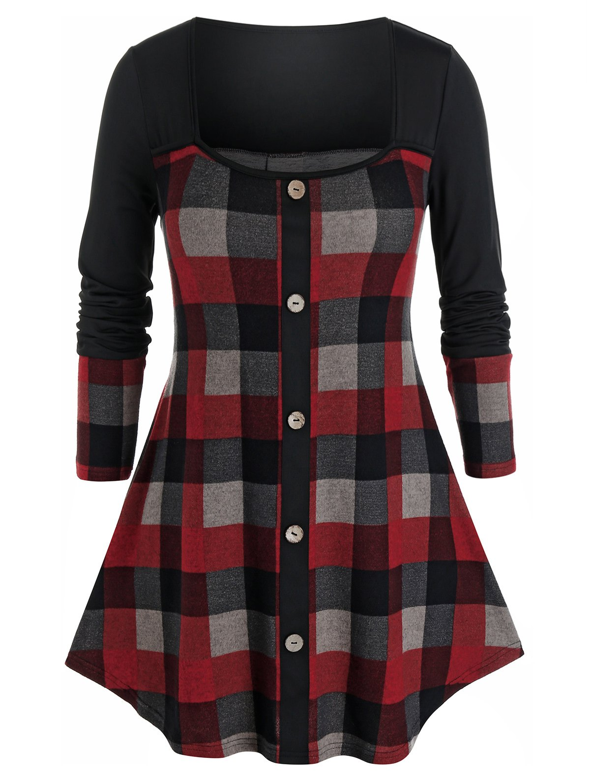 Plus Size Plaid Square Neck Curved Hem Knitted Tee