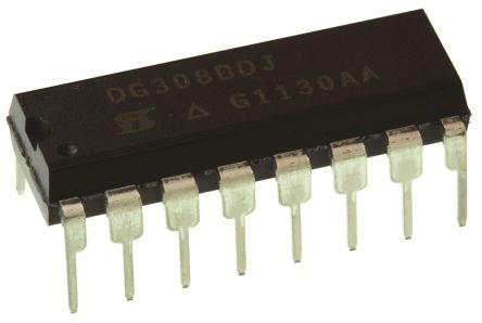 Vishay DG308BDJ-E3 , Analogue Switch Quad SPST, 12 V, 15 V, 18 V, 24 V, 28 V, 5 V, 9 V, 16-Pin PDIP
