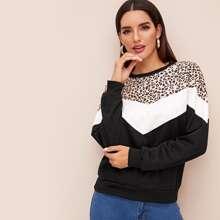 Sweatshirt mit Leopard Muster und Kontrast Farbblock