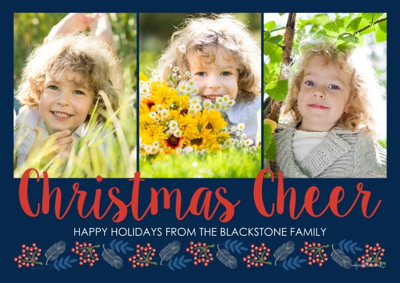 Christmas Photo Cards Flat Matte Photo Paper Cards with Envelopes, 5x7, Card & Stationery -Christmas Cheer Script