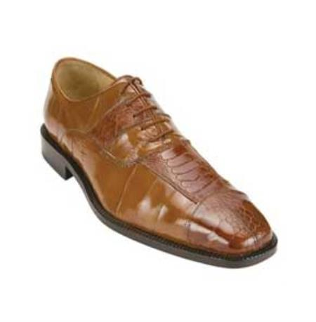 Ostrich and Eel Oxford Shoes with Padded Insole in Camel