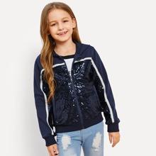 Girls Zip Up Contrast Sequin Sweatshirt