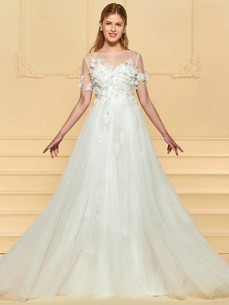 Ericdress Beading 3D Floral Short Sleeves Wedding Dress