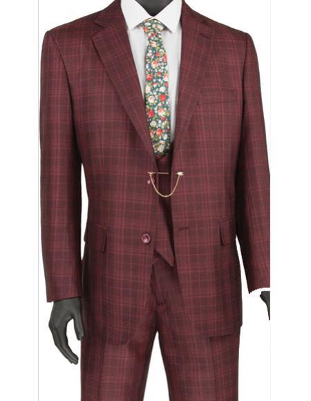 Mens burgundy plaid Double Breasted vest 3pc regular fit suit