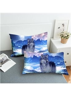 The Wolf In The Snow Reactive Printing 2-Piece Polyester Pillowcase