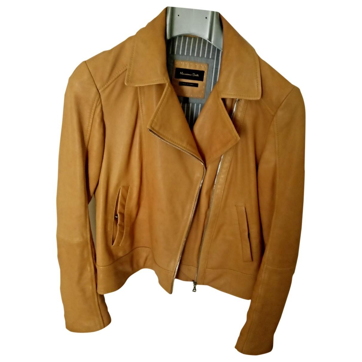Massimo Dutti - Veste   pour femme en cuir - jaune
