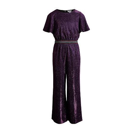 Emily West Big Girls Short Sleeve Jumpsuit, 14 , Purple
