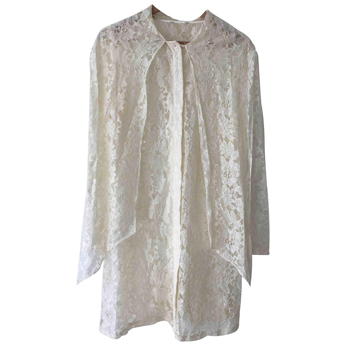 - Robe Epaulettes pour femme en dentelle - ecru