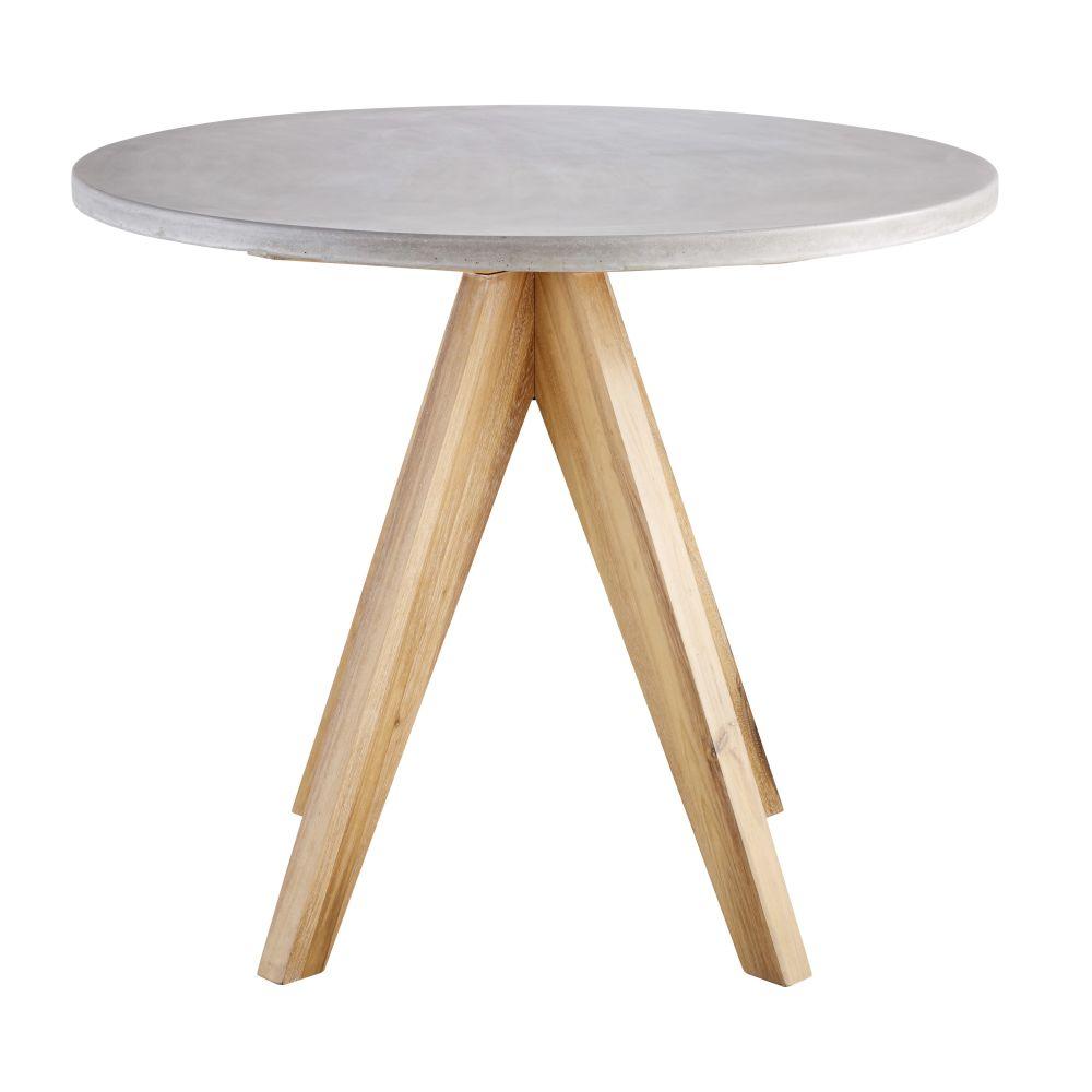 Runder Gartentisch aus Beton und massivem Akazienholz fuer 3 Personen D90 Tonga