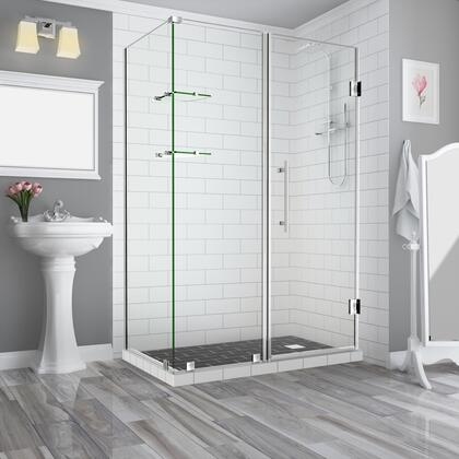 SEN962EZ-SS-673338-10 Bromleygs 66.25 To 67.25 X 38.375 X 72 Frameless Corner Hinged Shower Enclosure With Glass Shelves In Stainless