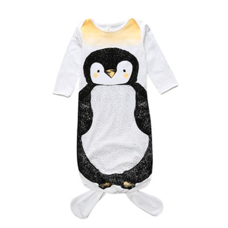 Fishtail Decoration Penguin Printed Cotton 1-Piece White Baby Sleeping Bag