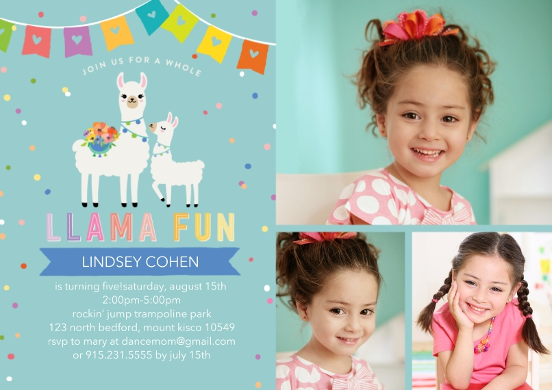 Kids Birthday Party Flat Matte Photo Paper Cards with Envelopes, 5x7, Card & Stationery -Party Invite Llama Fun Invite by Tumbalina