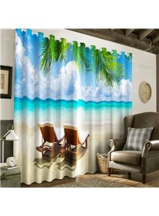 3D Blue Sea and Clean Sky with Leisure chairs Printed 2 Panels Living Room Window Curtain