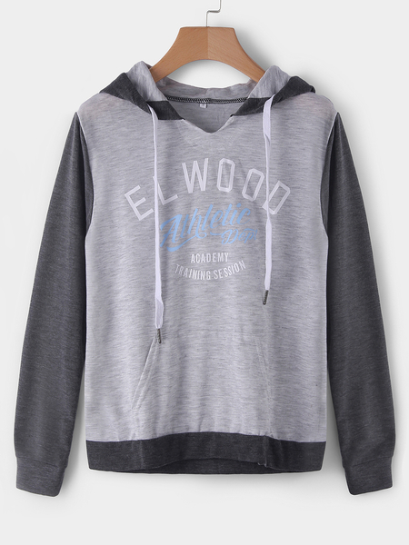 Yoins Grey Letter Pattern Long Sleeves Hooded Sweatshirts