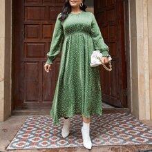 Plus Polka Dot Shirred Waist A-line Dress