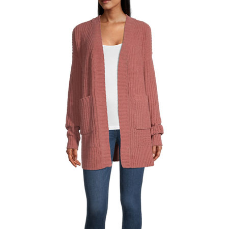 Arizona Womens Long Sleeve Cardigan-Juniors, X-small , Pink