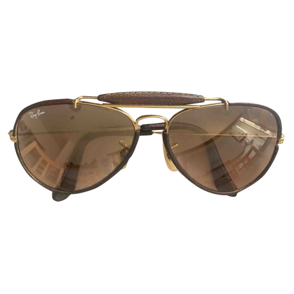 Ray-ban Aviator Brown Leather Sunglasses for Men N